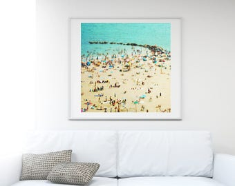 "Turquoise Beach Photography // Large Scale Photography // Beach People Aerial Print // Aerial Beach Photography ""Coney Island Beach II"""