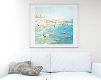 Large Beach Photography // Teal Turquoise Square Format Beach Print // Large Wall Art // Beach People Photography // Peeps Dips Coney Island