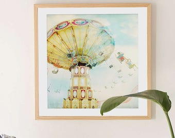 "Nostalgic Carnival Fine Art Print // ""Ride The Sky"" Carnival Photography for a Modern home // Kids Room Art // Pastel Print Carousel"