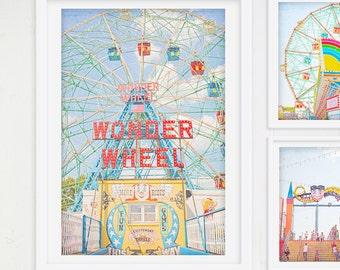 "Kids Room Art Wonder Wheel // Boardwalk Ferris Wheel // Carnival Photography // Ferris Wheel Print // Carnival Theme Prints - ""Wonder Wheel"""