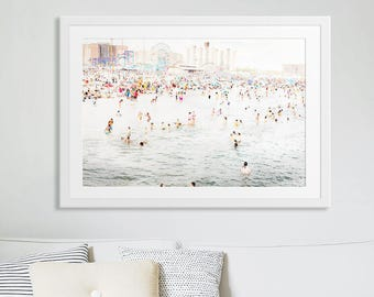 Colorful Crowded Beach Photography // Large Beach People Print for a Modern Home // Coney Island Beach Photography // Coney in July Print