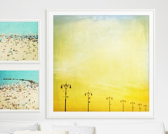 """Boardwalk Lights Large Scale Print // POP! of Canary Yellow Color Therapy // Boardwalk Lights Print // Modern // Yellow Sunset """"Boardwalk"""""""