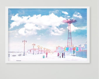 Oversize Wall Art // Boardwalk & Beach Coney Island Large Print // Large Boardwalk Print // Beach Boardwalk Print - Coney Island Brooklyn