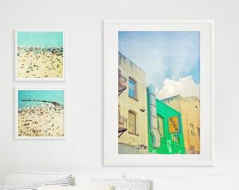 San Francisco Architecture Print // Living Room Wall Art // Bright Colors Modern Fine Art Print // Large Scale Wall Art  - San Francisco