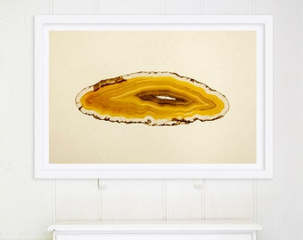 Large Minimalist Art // Agate Slice Art Print // Oversize Art // Yellow Abstract Print for a modern home // Gem Mineral Print Yellow Orange