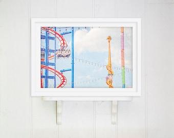"Kids Room Art // Nursery Decor // Carnival Photography //  Coney Island, Bright Colorful Print // Nursery Art Print - ""Coney Island Rides"""