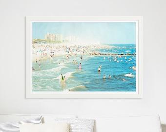 "Large Beach Photography // Oversize Art // Coney Island Beach Photography // Navy Blue Light Blue Wall Art // Large Beach Print ""Peeps Dips"""