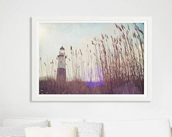 Nostalgic Lighthouse Print  // Oversize Art Living Room // Beach Grass Landscape Print // Beach Grass Print // Lighthouse Print Decor