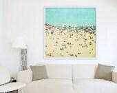 Large Oversize Art Beach Photography Aerial beach Photography Turquoise Teal Print Coney Island Beach Beach People