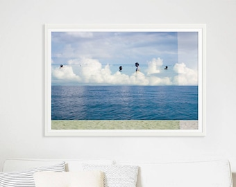 Art Photography // Large Beach Photography // Oceanside Art Print // Navy Blue & Sand Print // Beach People Mexico // Beach Collage II