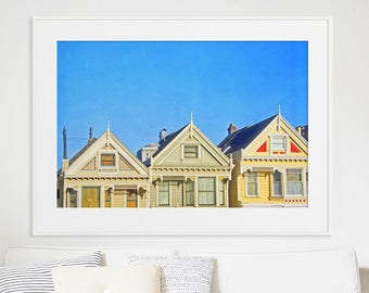 San Francisco Painted Ladies Print // Large Scale Print of Painted Ladies // San Francisco Living Room Art // Oversize Wall Art Architecture