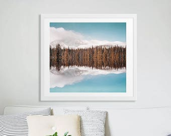 Landscape Mountain Range Photography // Winter Photography Snowy Peaks // Pine Forest Print // Nature Art Print Large Scale Art