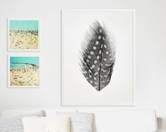 Large Feather Print Oversize Art // polka Dot Feather Print Original // Modern Home Decor // Large Scale Photography // Still Life