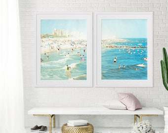 """Oversize Art Large Beach Photography Diptych // Set of TWO Beach Prints // Large Scale Art for a modern home // Coney Island """"Peeps Dips"""""""