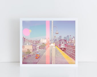 Colorful NYC Street Photography // Large Scale Wall Art Prints // New York City Street Photography // Seven to Main Commute Queens