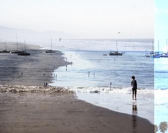 Art Photography // Large Beach Photography // Oceanside Art Print // Blue & Sand Print // Beach People Santa Monica // Beach Collage III