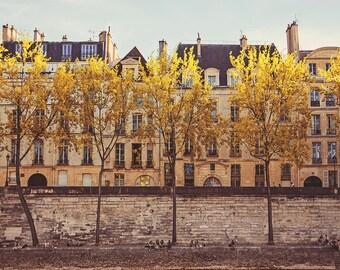 "Autumn in Paris by the Seine // Paris Prints Bedroom Decor // French Decor for a modern home // Paris Wall Art - ""Parisians on the Seine"""