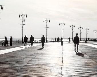 Coney Island Boardwalk Fine Art Photography // Large Framed Prints // Beach Photography Art Print // Boardwalk People // Large Wall Art