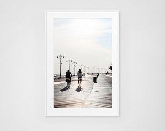 Coney Island Boardwalk Fine Art Photography Couple Biking the Boardwalk // Large Framed Prints // Beach Photography Art Print