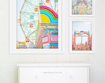 "Oversize Art Wonder Wheel Coney Island Brooklyn // Ferris Wheel Photography // Carnival Photography // Coney Island  ""Thrills"""