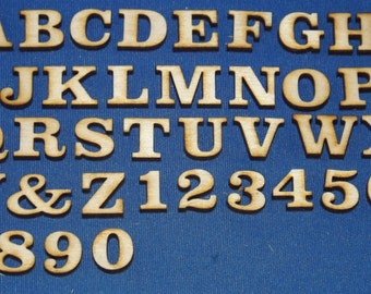 small letters and numbers 12 high x 18 thick baltic birch wood laser cut sold as individual itemsnot as a set