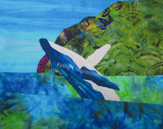 Humpback Whale Mountains Polihale Beach Hawaii Fabric Quilt Square Panel