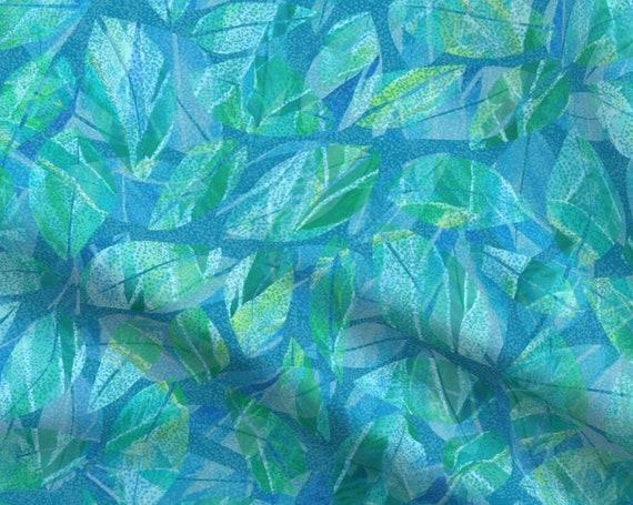 Tropical Leaves Teal Dotted Texture Blue Green Fabric By The Yard~ Hawaiian Coastal Beach Seaside Island Ocean Fabric FQ BTY