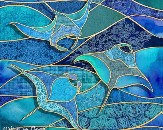 MANTA RAYS Ocean Fabric Panel Stained Glass Watercolors~ Tropical Blue Green Fabric Quilt Square Manta Ray Coastal Beach Hawaii Patchwork