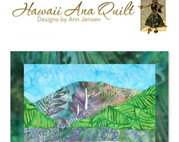 Hanalei Bay Hawaiian Beach Quilt Pattern North Shore of Kauai Hawaii Batik Applique Mountains Waterfall Ocean