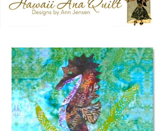 Tropical SEAHORSE Quilt Pattern Hawaii Batik Applique Ocean Sea Kelp Grass Coastal