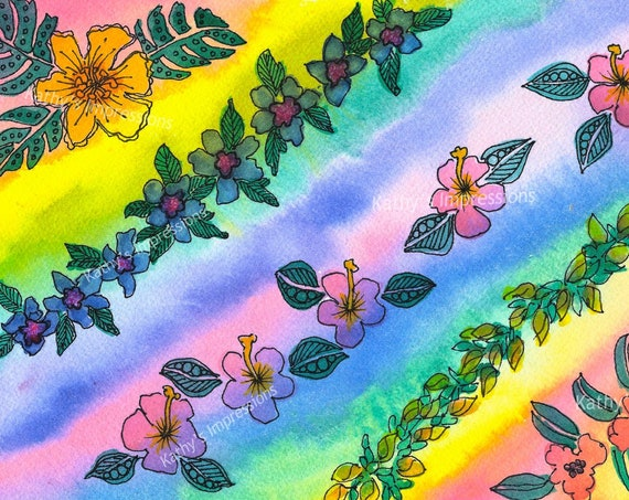 RAINBOW LEI Fabric Quilt Square Flowers Tropical Paradise Hawaii Coastal ~ Choice of Panel Size
