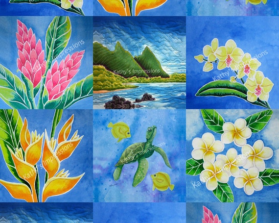 Choice Wholecloth Fabric Quilt Top Tropical Flowers Hawaiian Dreams Paradise Panel Minky Cotton ~ Lea Ingram Collection
