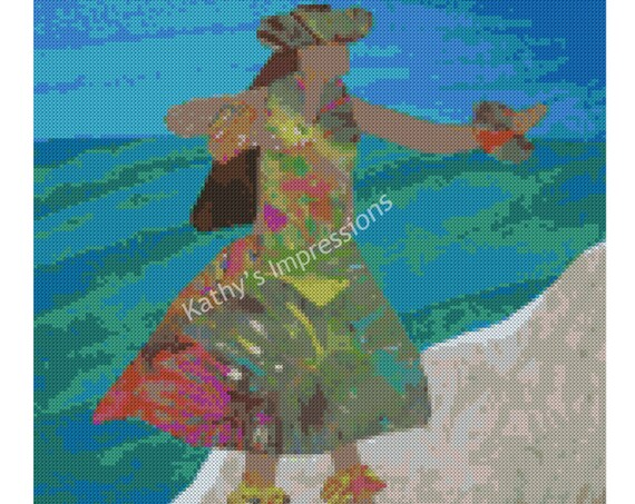 Cross Stitch Pattern Hawaiian HULA DANCER Dancing on Beach by Ocean~ Digital PDF Instant File to Download and Print
