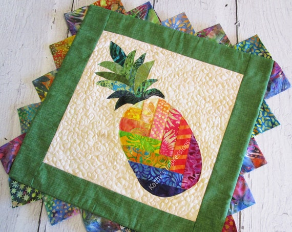 Tropical PINEAPPLE Quilted Pillow Cover Case Batiks Applique Rainbow Colors Prairie Points Hawaiian