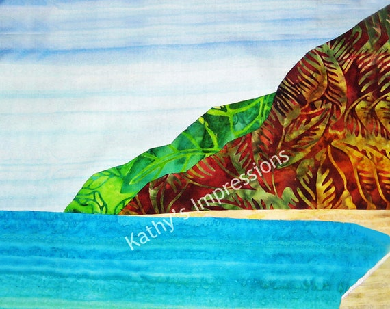 POLIHALE BEACH Cool Colors- Fabric Quilt Panel Square - Kauai Tropical Island