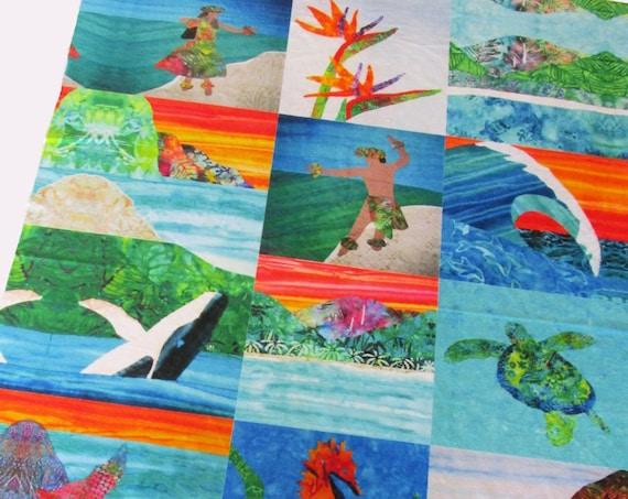 Hawaiian BEACH Fabric MINKY Wholecloth Quilt Top Tropical Sea Turtle Mermaid Wave Paradise