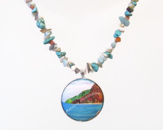 Choice of Pendant Necklace Tropical Beach Mermaid Sea Turtle Bali Hai Leopard Print Gemstone Chip Beads Art