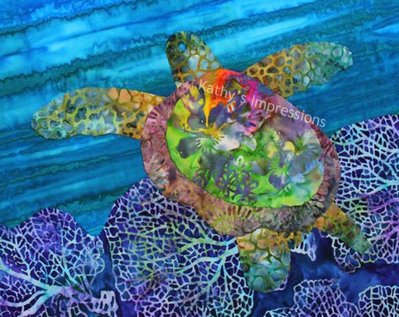 Sea Turtle Fabric Quilt Square, Under the Sea Fabric, Sea Turtle Fabric Panel, Sea Life Fabric, Blue Ocean Purple Reef Beach Batiks