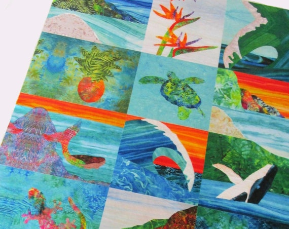 Tropical BEACH Mermaid MINKY Wholecloth Quilt Top~Turtle Ocean Wave Fabric Turtle Whale Seahorse Sunset Surfer Girl Flowers Baby Girl ~ DIY