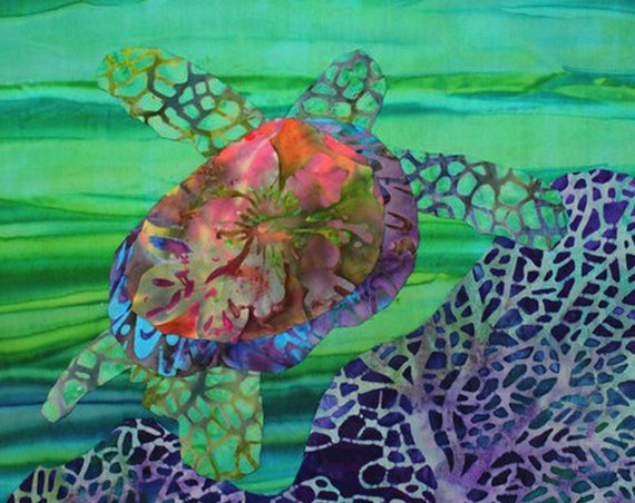 Sea Turtle Green Fabric Panel Ocean Purple Reef Batiks Beach Coastal Life Quilt Square