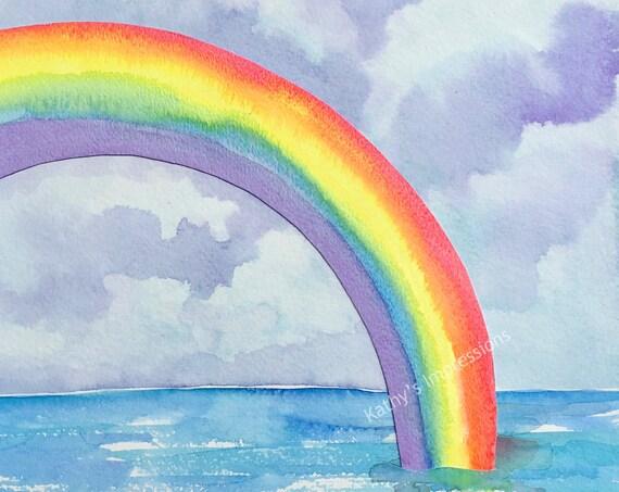 Watercolor Rainbow Fabric Quilt Panel Hawaii Tropical Paradise ~ Coastal Seaside Rainbow Ocean Quilt Square~ Kauai Maui Oahu