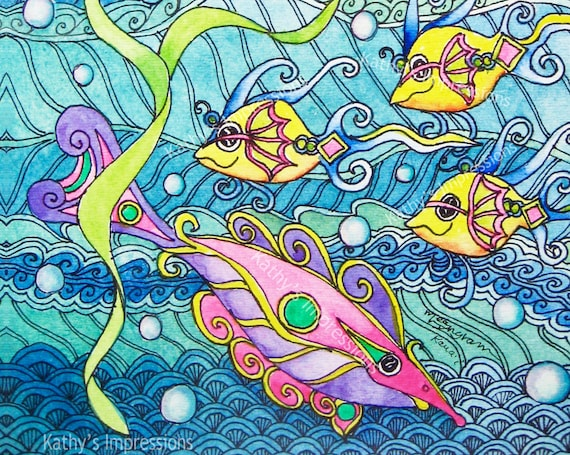 Tropical FISH Fabric Pink Yellow Under The Sea Girls Quilt Panel Water Bubbles Waves Blue Ocean Whimsical Fantasy