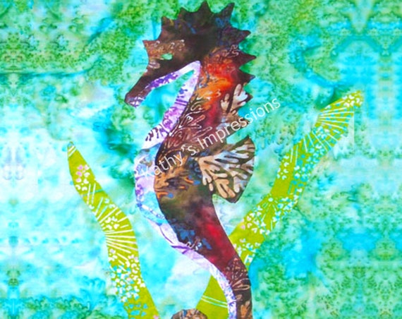 Tropical SEAHORSE Fabric, Aqua Ocean Water Quilt Square Organic Cotton Batik Panel Hawaii Block Blue Green