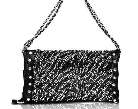 Stunning Black & White Zebra Animal Print RHINESTONE Studded Bag