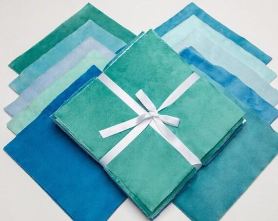 "Shannon Fabrics SHADES Of PARADISE Cuddle Cake~ (20) 10"" MINKY Fabric Quilt Squares"