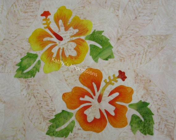 Orange and Yellow Hibiscus Flowers Fabric Quilt Square Tropical Leaves Organic Cotton Sateen~ NEW