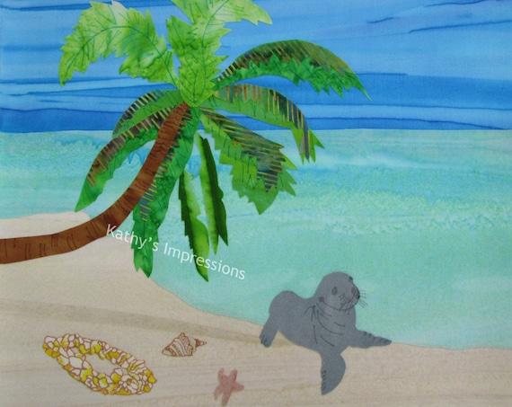Tropical Beach SEAL Palm Tree Fabric Quilt Square Shells Hawaiian Plumeria Flower Lei Organic Cotton Panel