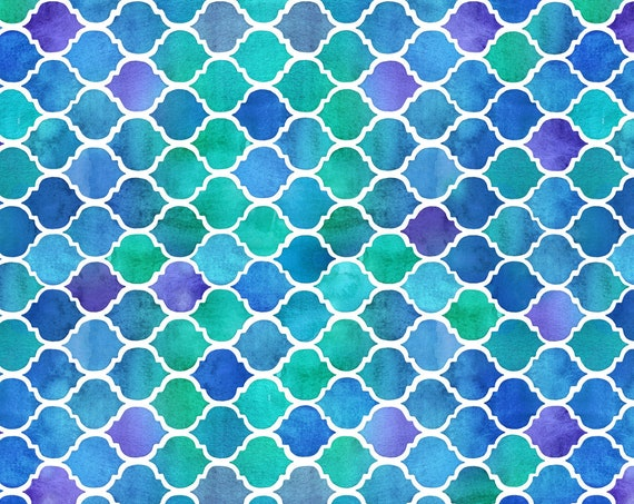 Watercolor Ocean Water Fabric Beach Seaside Blue Green Coastal Tropical ~ Textured Moroccan Fabric Quilt Square or Panel