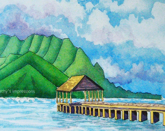 Hanalei Pier Fabric Quilt Panel Kauai Hawaii Bai Hai Mountains Ocean~ Hanalei Bay Pier Tropical Paradise Watercolors Quilt Square Fabric