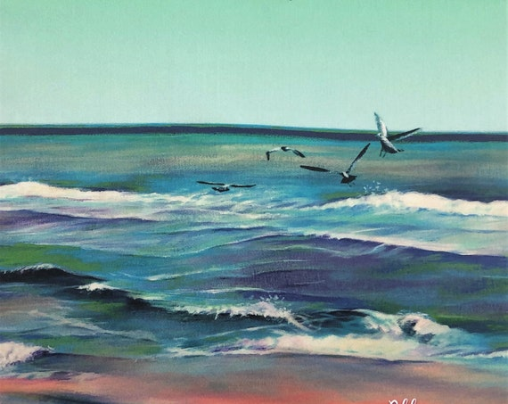 SEASHORE Tropical Beach Fabric Panel Ocean Seagulls Ombre Green Painting~ Tropical Beach Fabric Quilt Square Coastal Seashore